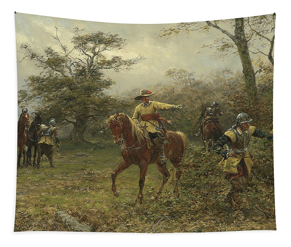 Charles Ii Tapestry featuring the painting The Boscobel Oak by Earnest Crofts