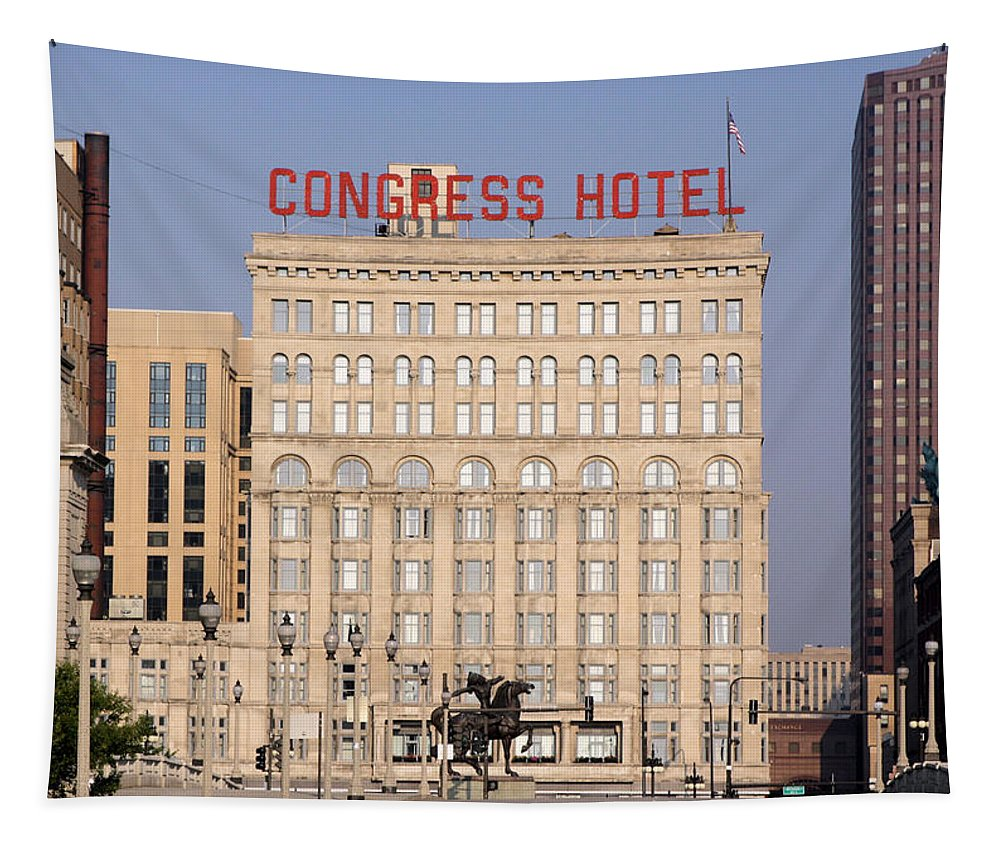 Chicago Tapestry featuring the photograph The Congress Hotel - 1 by Ely Arsha