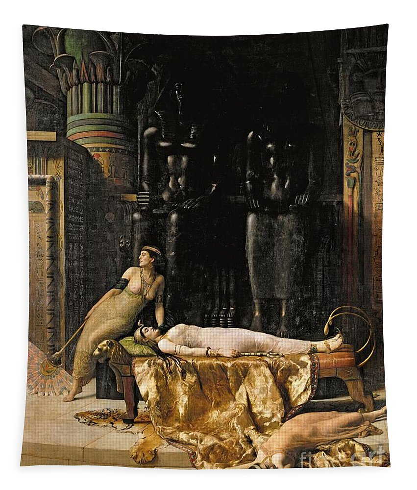 Tigerskin; Fan Tapestry featuring the painting The Death Of Cleopatra by John Collier