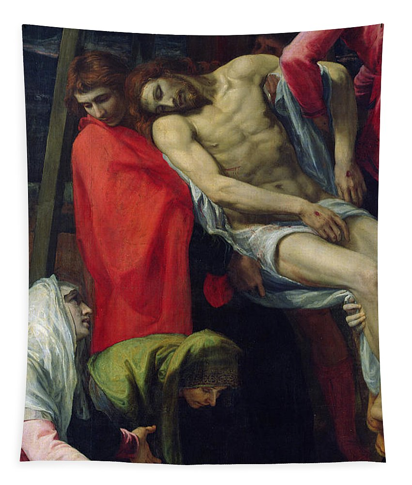 Jesus Tapestry featuring the painting The Descent From The Cross by Bartolome Carducci