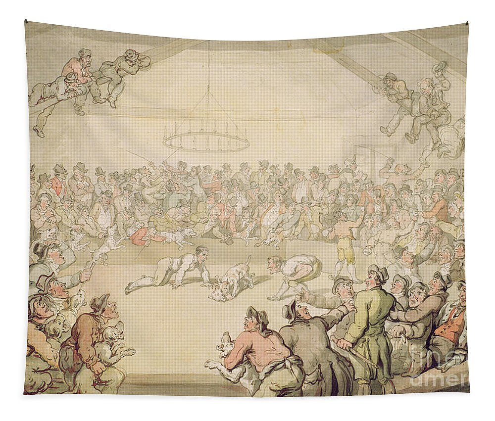 Arena; Gambling Tapestry featuring the painting The Dog Fight by Thomas Rowlandson