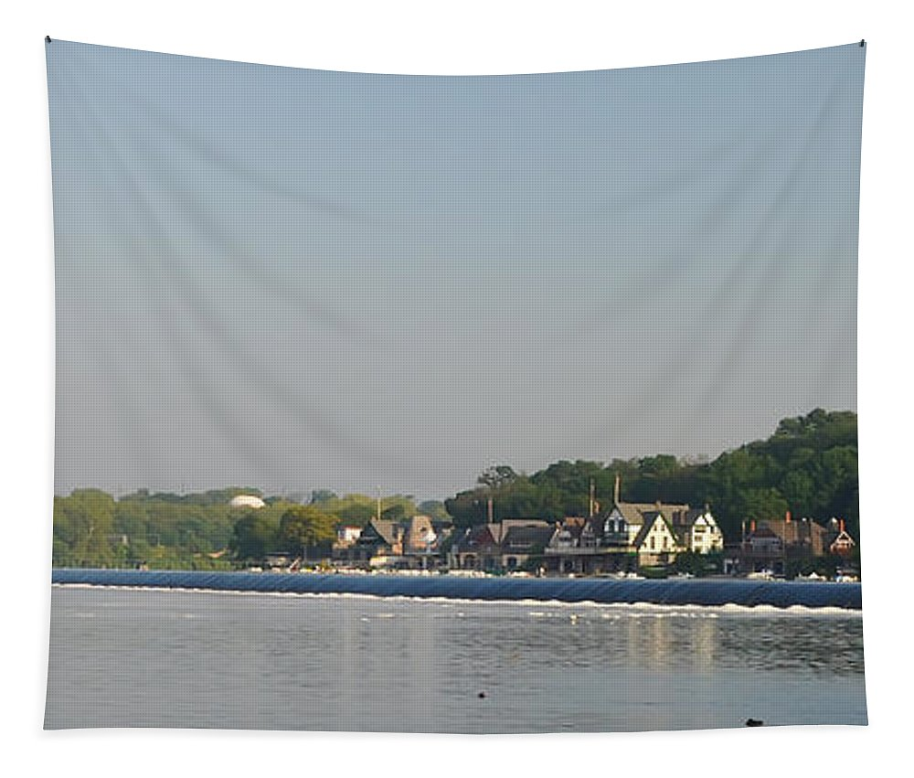 The Fairmount Dam And Boathouse Row Tapestry featuring the photograph The Fairmount Dam And Boathouse Row by Bill Cannon