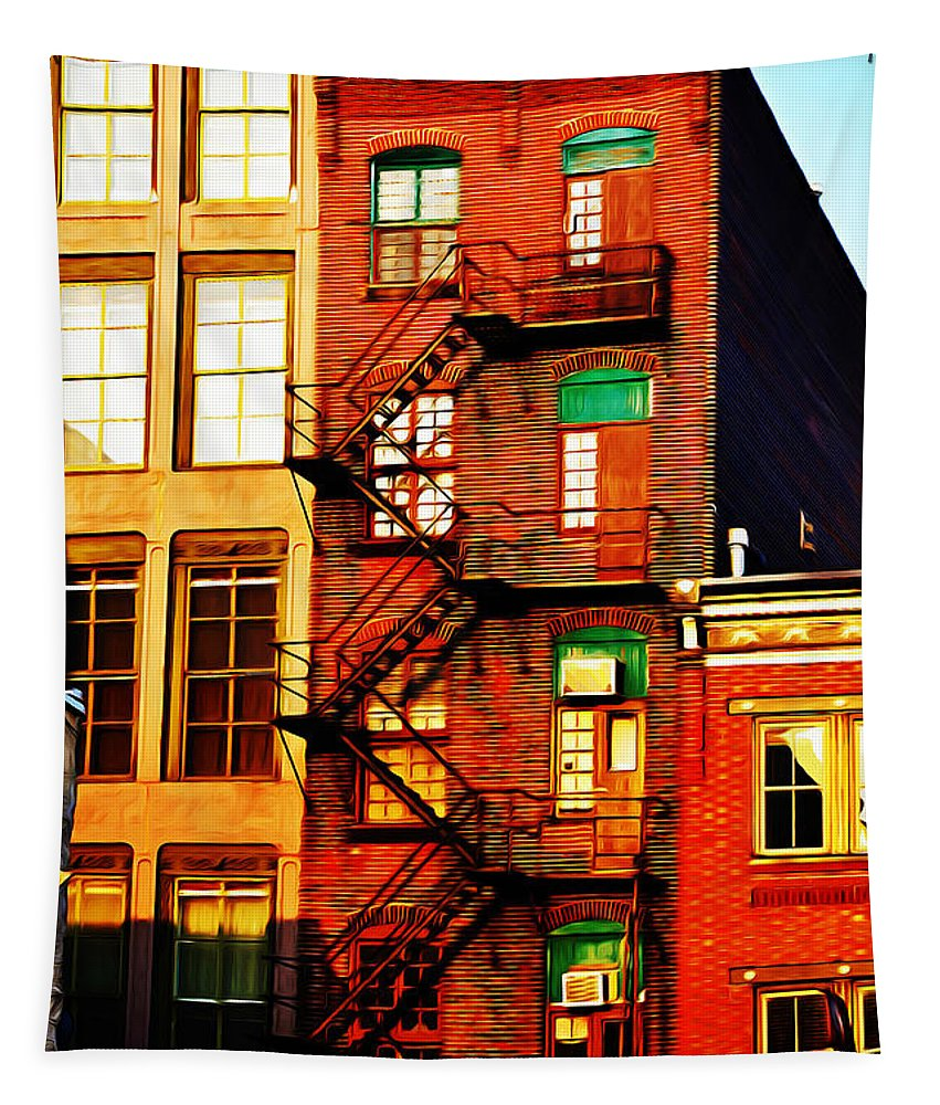 The Fire Escape Tapestry featuring the photograph The Fire Escape by Bill Cannon