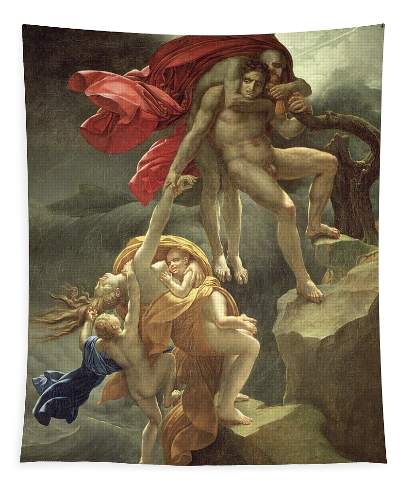 Family; Clinging; Naked; Desperate; Mother; Girodet; Children; Rescue; Inondation Tapestry featuring the painting The Flood by Anne Louis Girodet de Roucy-Trioson