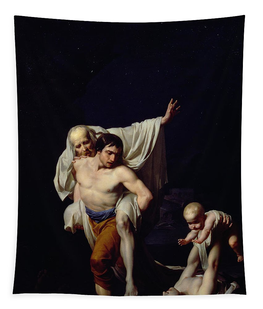 Drowning; Mother And Child; Old Man; Rescue; Carry; Darkness; Tragedy; Baby; L'inondation; Inondation Tapestry featuring the painting The Flood by Jean-Baptiste Regnault