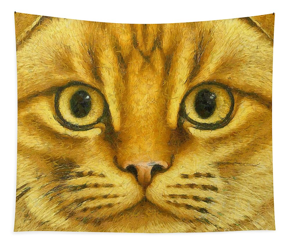 Orange Tapestry featuring the painting The French Orange Cat by Dragica Micki Fortuna
