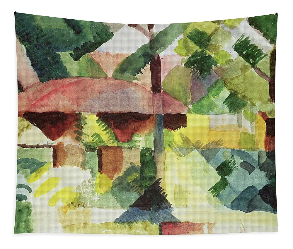Blaue Reiter; Blue Rider; Landscape Tapestry featuring the painting The Garden by August Macke