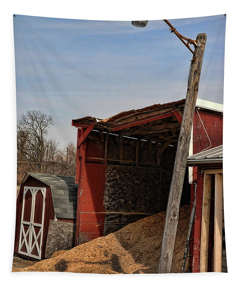 Red Tapestry featuring the photograph The Grain Barn by Paul Ward