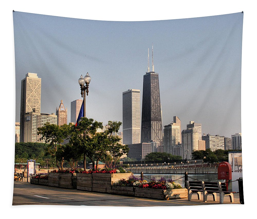 Chicago Tapestry featuring the photograph The Hancock Building - 1 by Ely Arsha