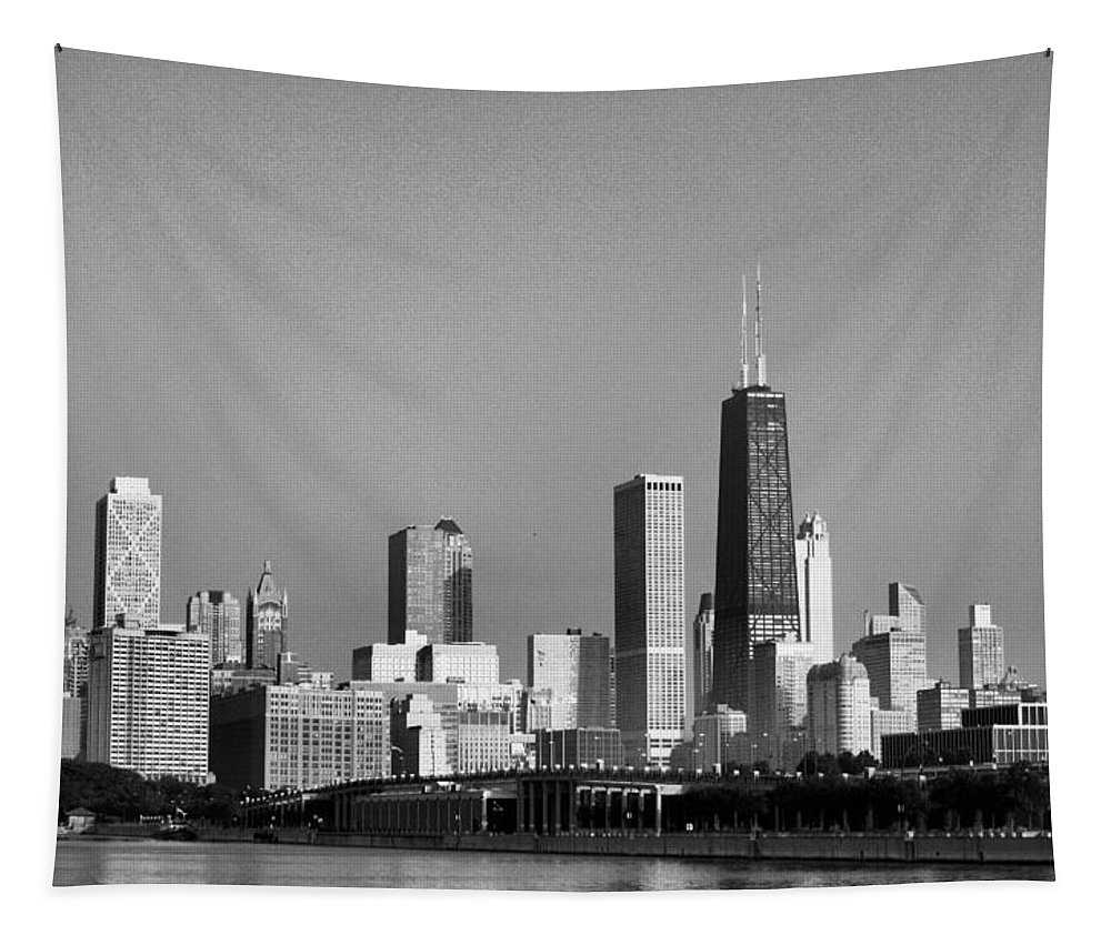 The Hancock Building Tapestry featuring the photograph The Hancock Building - 3 by Ely Arsha