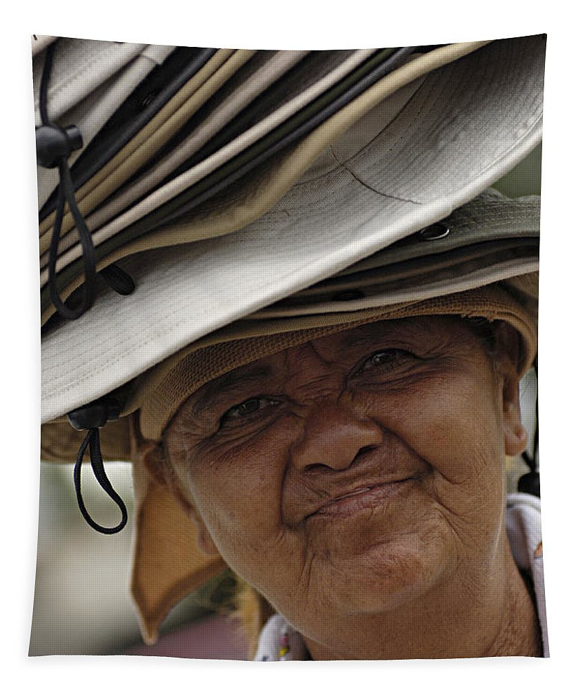 Hats Tapestry featuring the photograph The Hat Lady Costa Rica by Bob Christopher