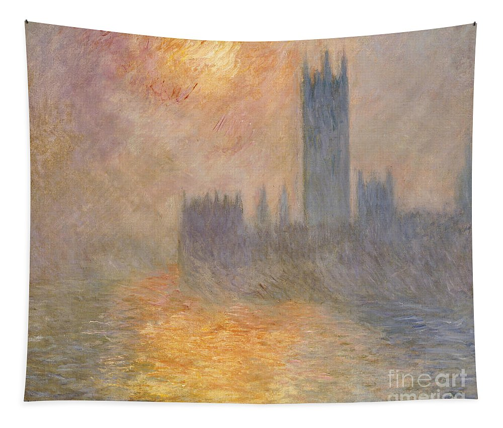 The Houses Of Parliament Tapestry featuring the painting The Houses Of Parliament At Sunset by Claude Monet