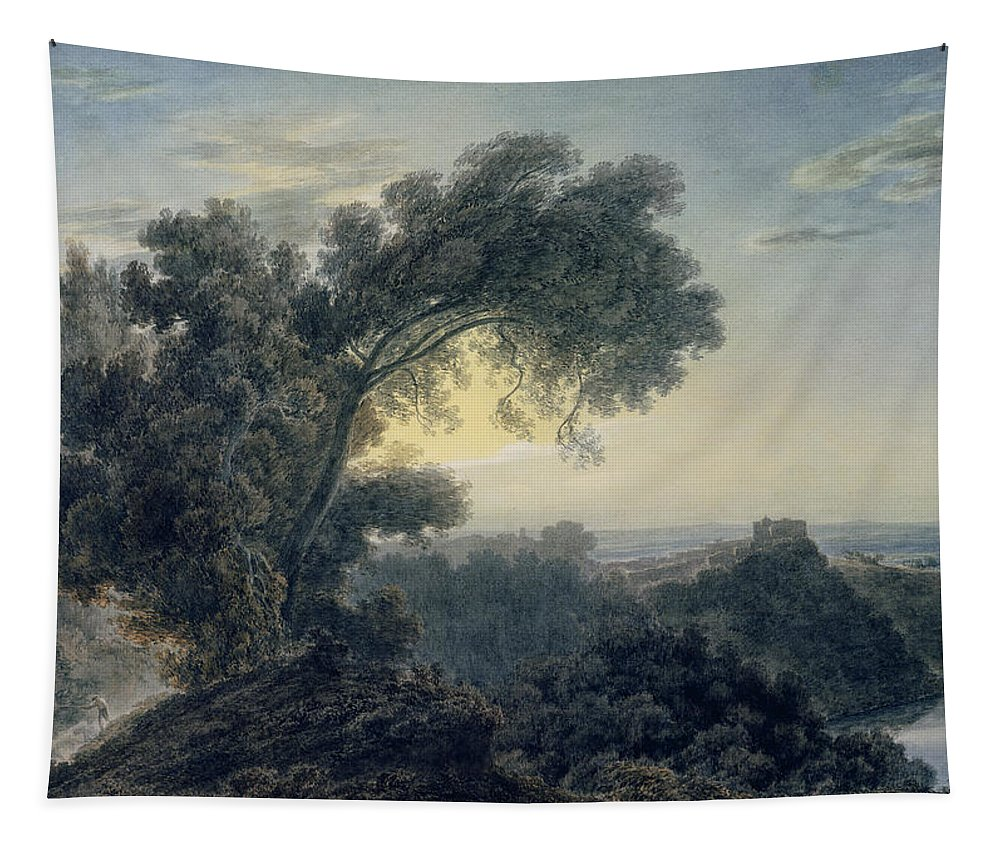 The Tapestry featuring the painting The Lake Of Albano And Castle Gandolfo by John Robert Cozens