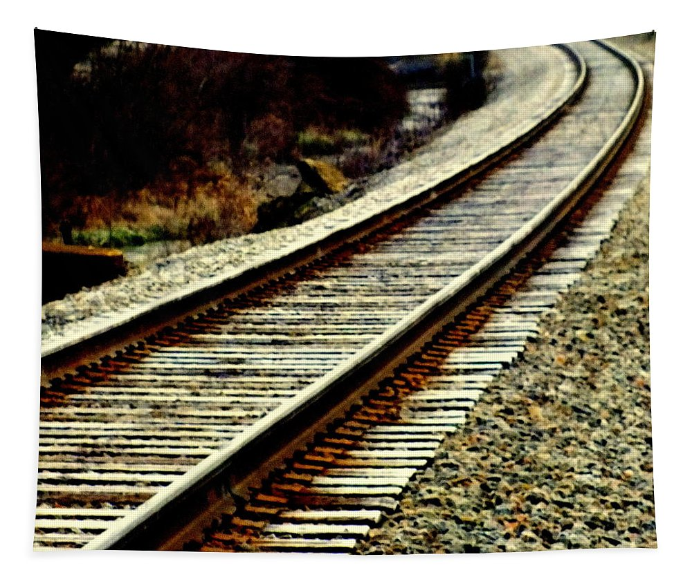 Railroad Tracks Tapestry featuring the photograph The Long Way Home by Karen Wiles