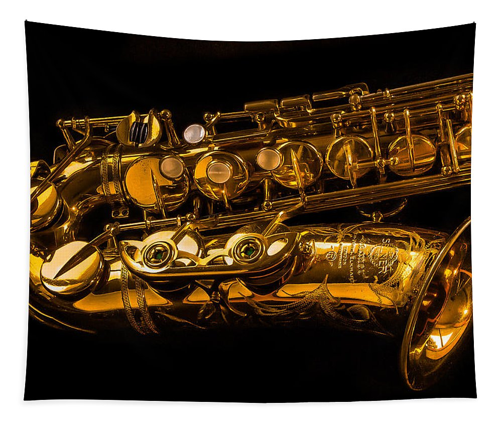Jean Noren Tapestry featuring the photograph The Lying Sax by Jean Noren