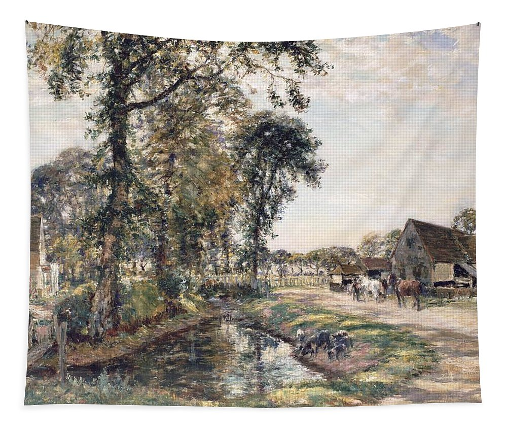 Pigs; Stream; Mark Fisher Tapestry featuring the painting The Manor Farm by Mark Fisher