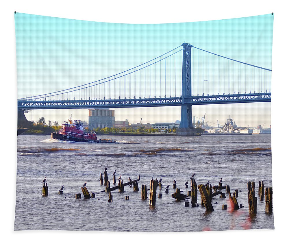 The Mighty Delaware River Tapestry featuring the photograph The Mighty Delaware River by Bill Cannon
