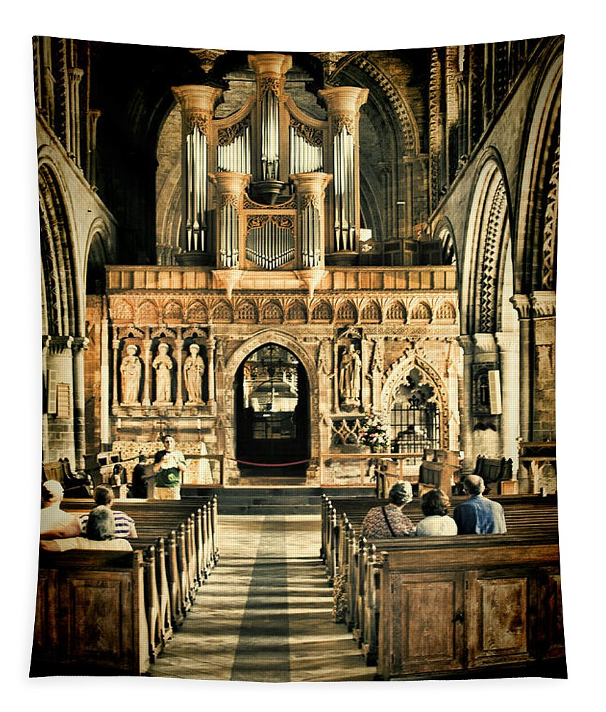 St Davids Cathedral Tapestry featuring the photograph The Nave At St Davids Cathedral 2 by Steve Purnell