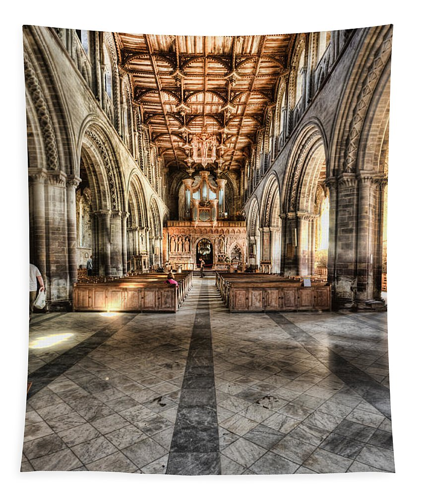 St Davids Cathedral Tapestry featuring the photograph The Nave At St Davids Cathedral 3 by Steve Purnell