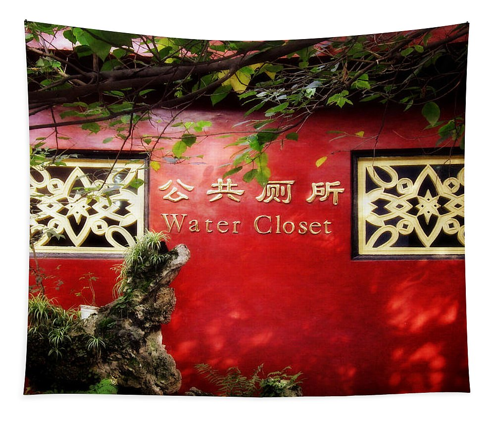 Red Tapestry featuring the photograph The Nicest Wc You Will Ever See by Joan Carroll