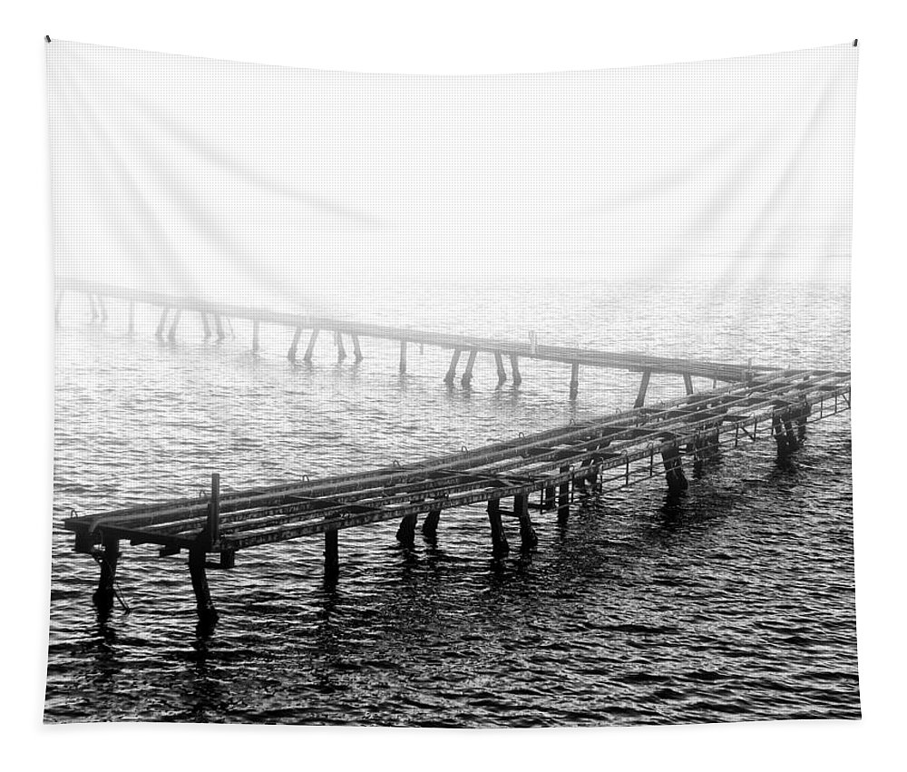 The Old Pier Tapestry featuring the photograph The Old Pier by Bill Cannon
