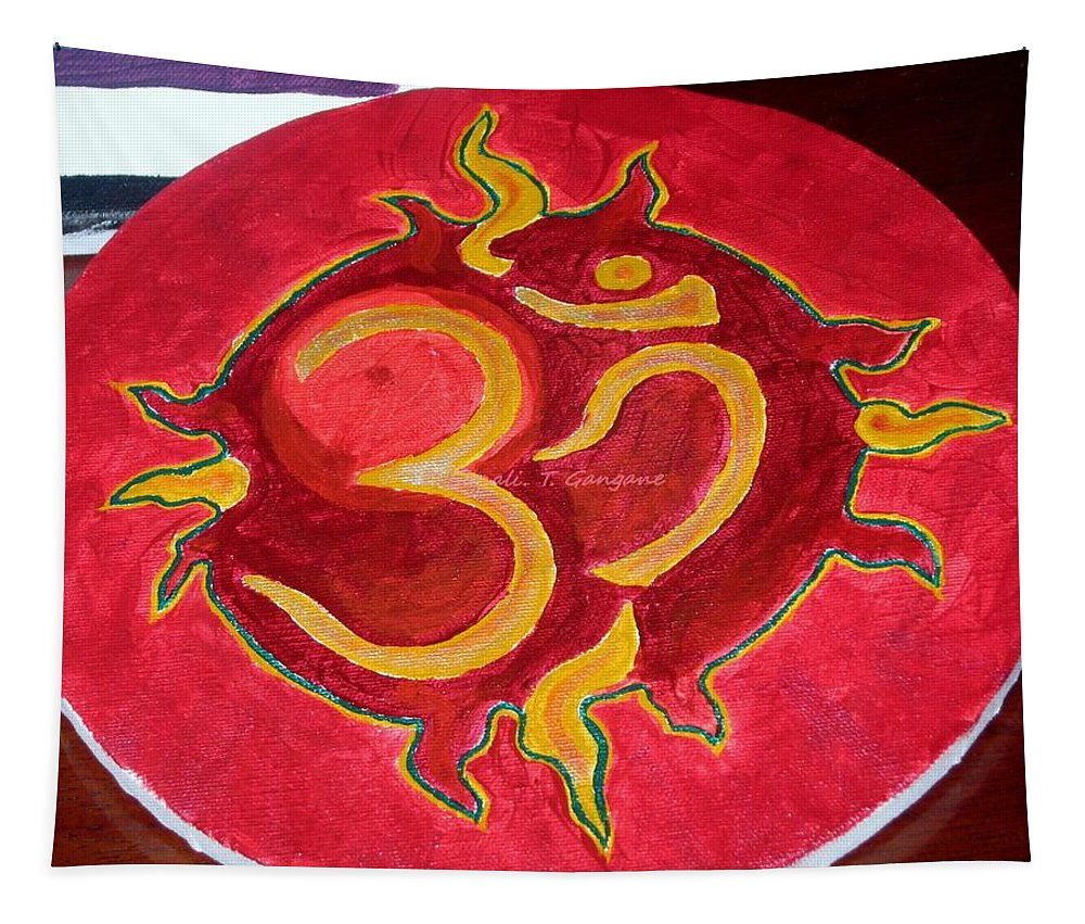 Divine Aum Tapestry featuring the painting The Omnipotent Aumkar by Sonali Gangane