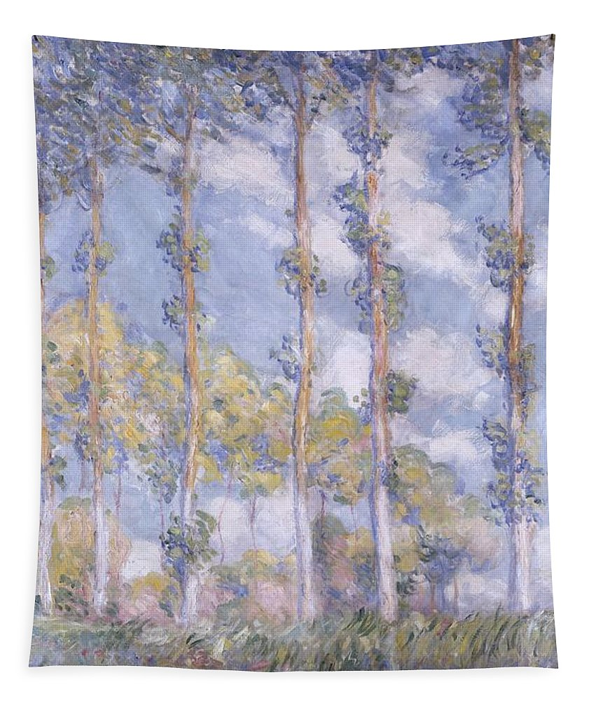 Impressionism; Impressionist; Landscape; Tree; River; Water; Reflection; Bank; The Poplars Tapestry featuring the painting The Poplars by Claude Monet