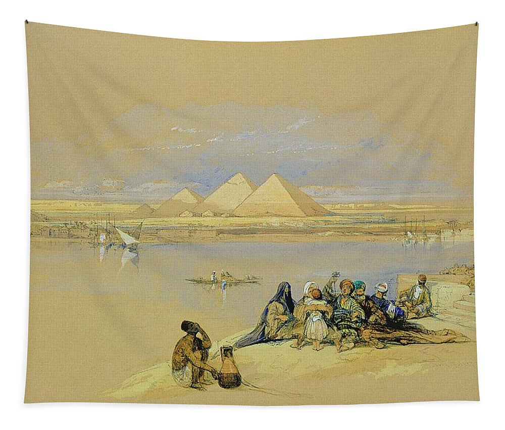 River; Nile Tapestry featuring the painting The Pyramids At Giza Near Cairo by David Roberts