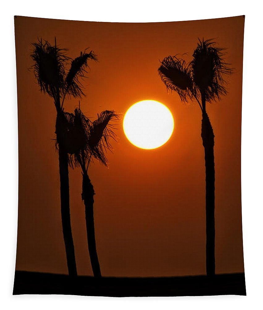 Sunset Tapestry featuring the photograph The Red Sunset by Saija Lehtonen