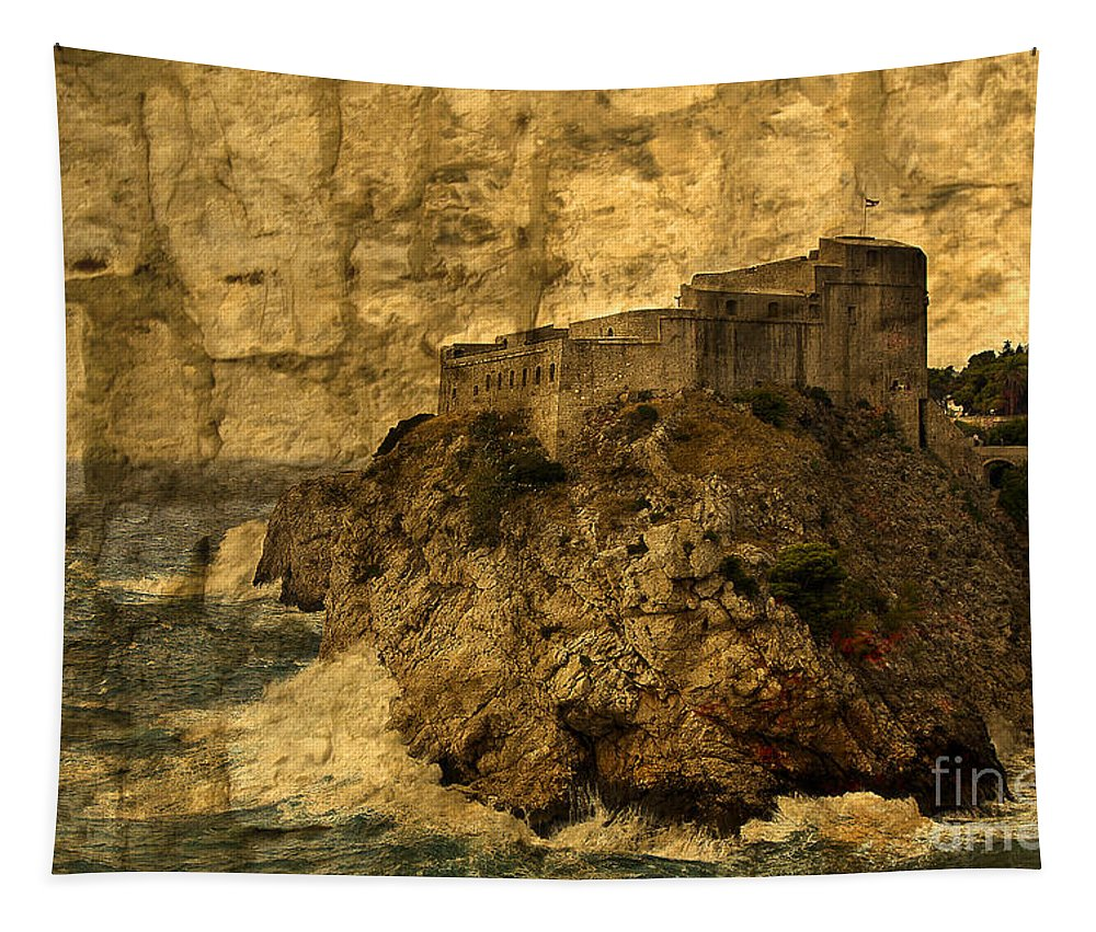 Dubrovnik Tapestry featuring the photograph The Rock In Dubrovnik by Madeline Ellis