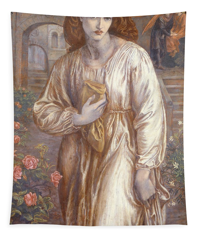 The Tapestry featuring the painting The Salutation by Dante Charles Gabriel Rossetti