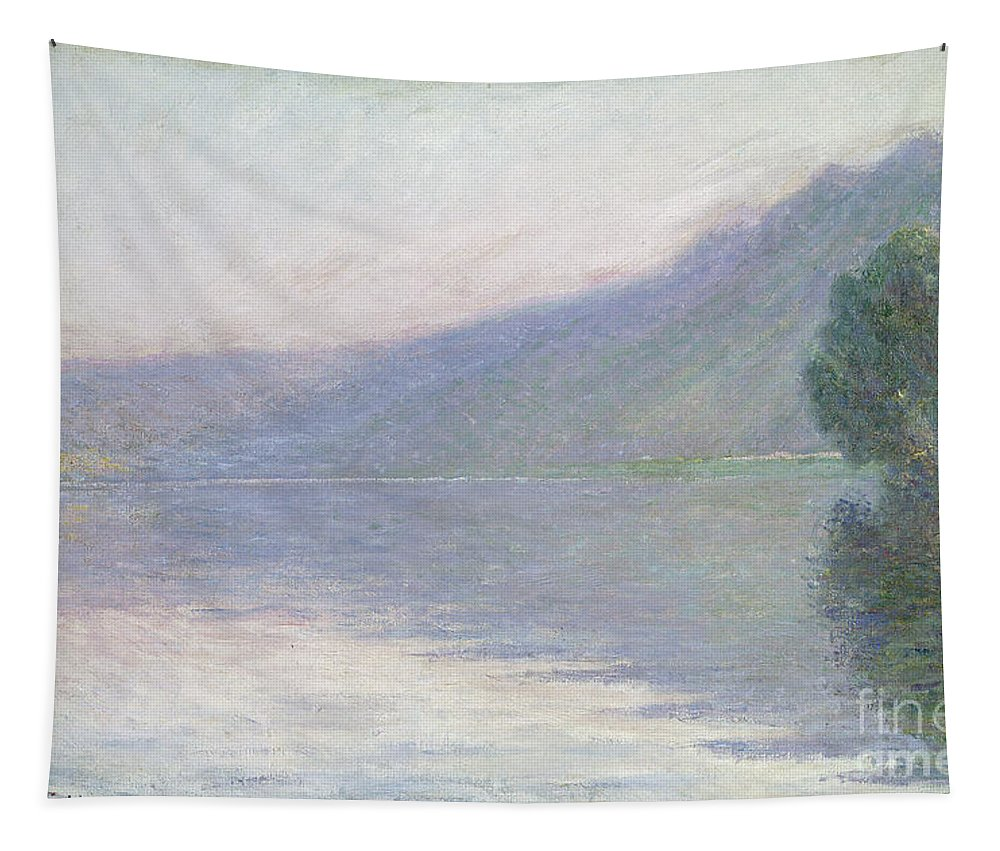 River; Foggy; Fog; Impressionist; Landscape; Yvelines Tapestry featuring the painting The Seine At Port Villez by Claude Monet