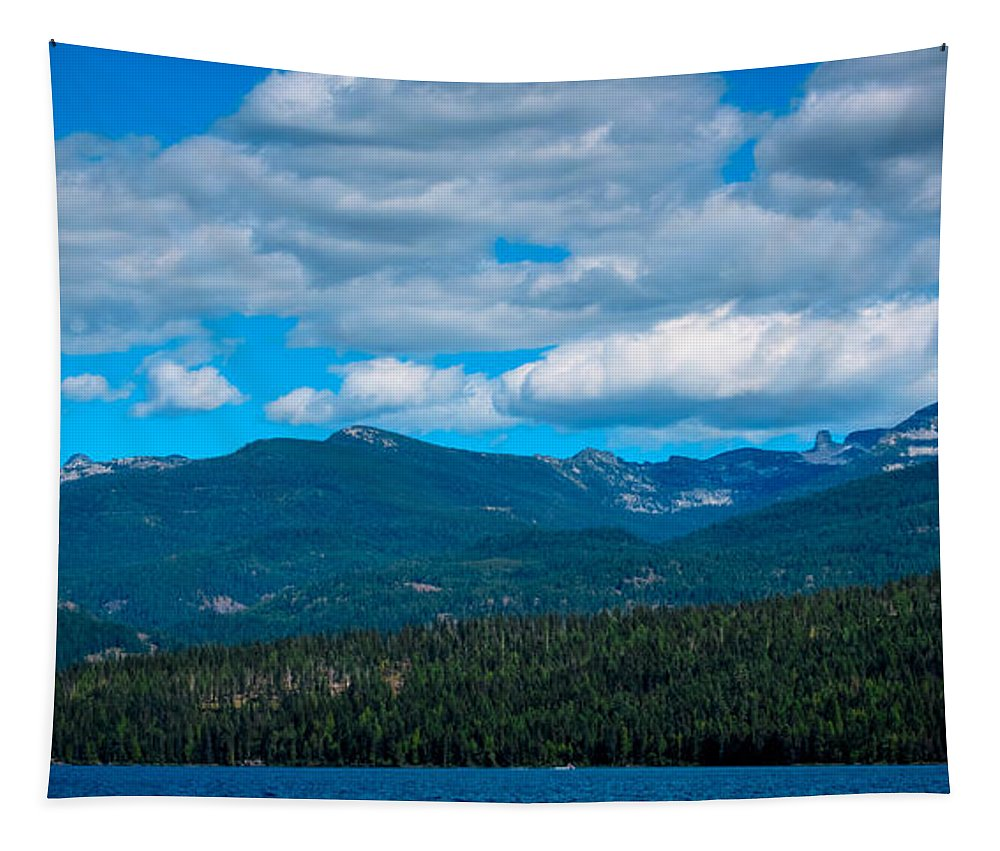 Elkins Resort Boathouse Tapestry featuring the photograph The Selkirk Mountains Of Priest Lake by David Patterson