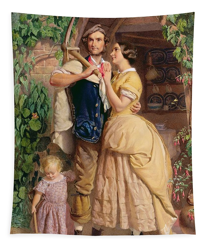 The Tapestry featuring the painting The Sinews Of Old England by George Elgar Hicks