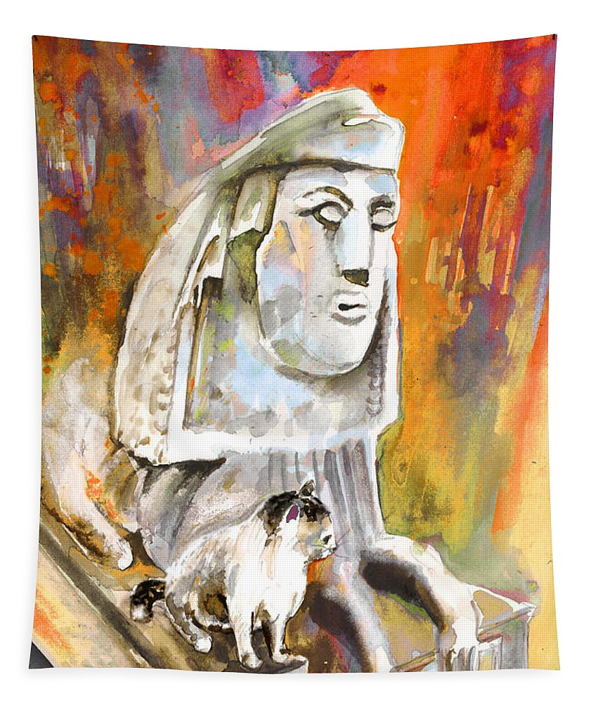 Travel Painting Tapestry featuring the painting The Sphinx Of Petraion by Miki De Goodaboom