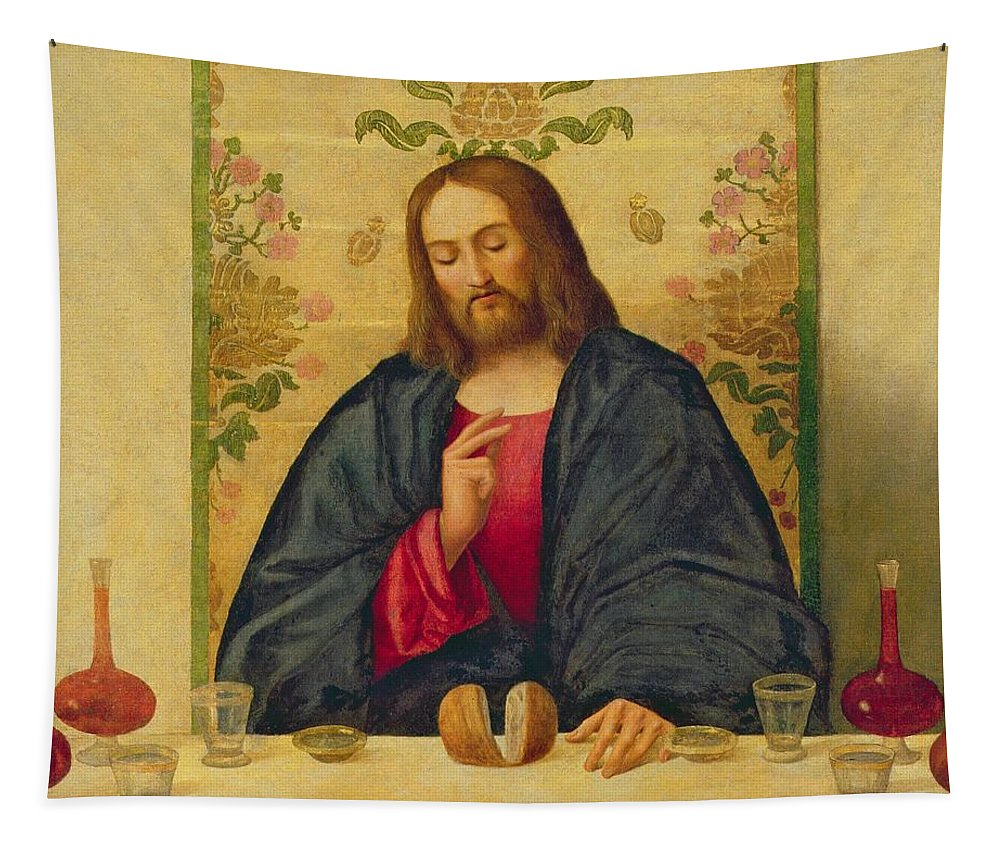 Jesus Tapestry featuring the painting The Supper At Emmaus by Vincenzo di Biaio Catena