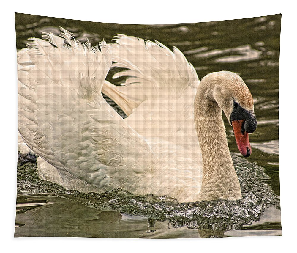 Swan Tapestry featuring the photograph The Swan by Steve Purnell