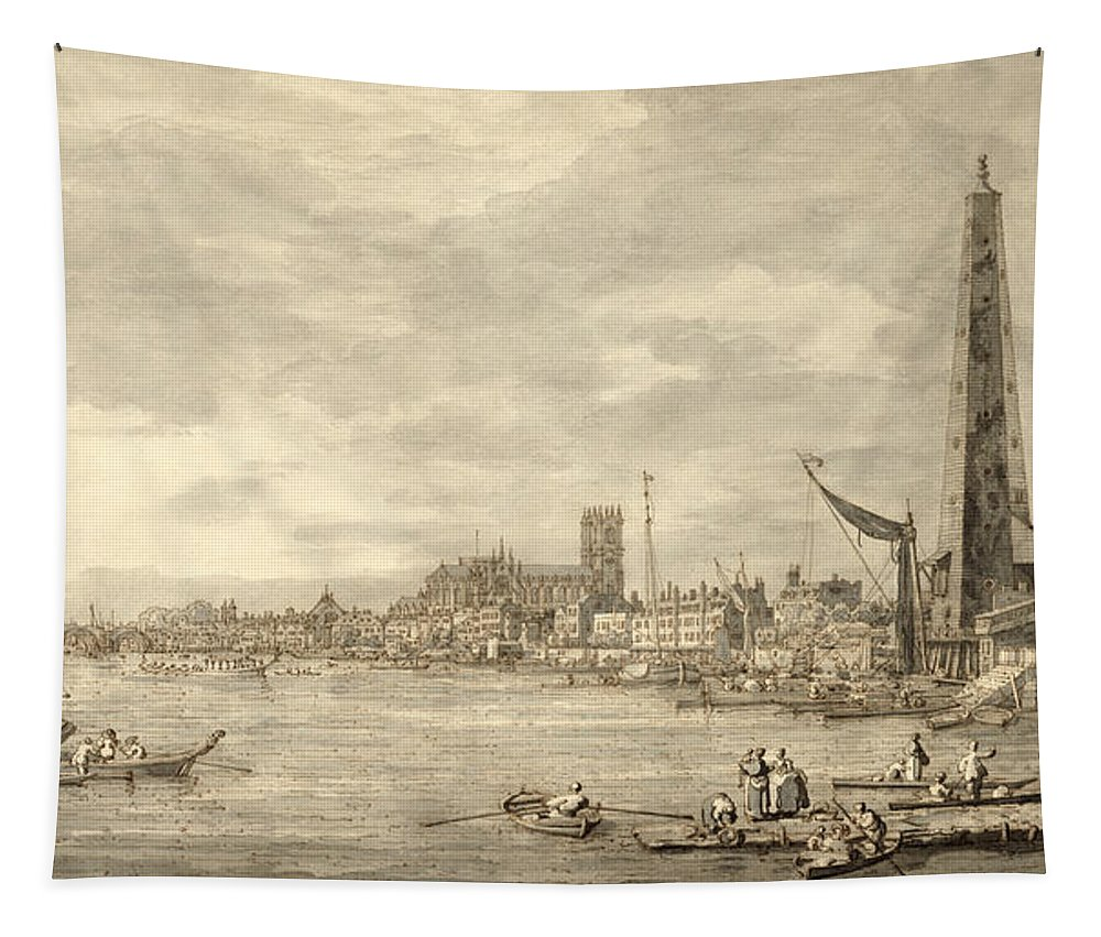 Xyc144093 Tapestry featuring the photograph The Thames Looking Towards Westminster From Near York Water Gate by Giovanni Antonio Canaletto