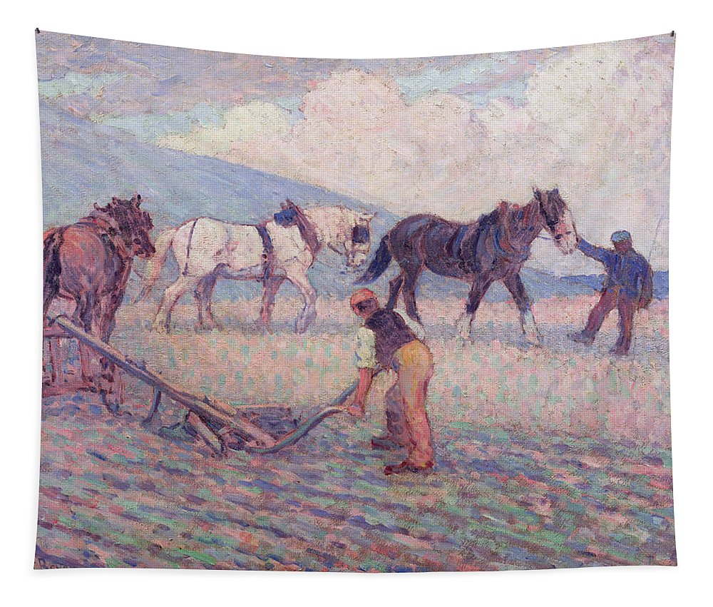 Xyc153926 Tapestry featuring the photograph The Turn - Rice Plough by Robert Polhill Bevan