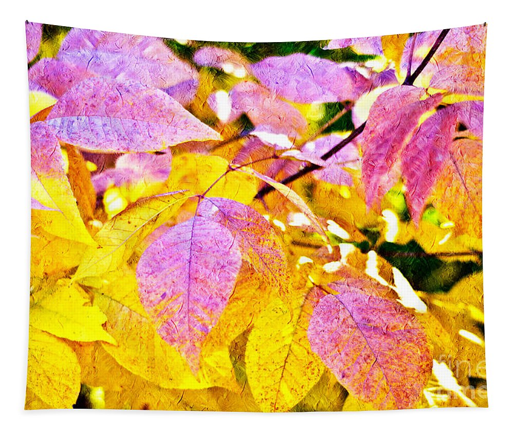 Abstract Tapestry featuring the photograph The Warm Glow In Autumn Abstract by Andee Design