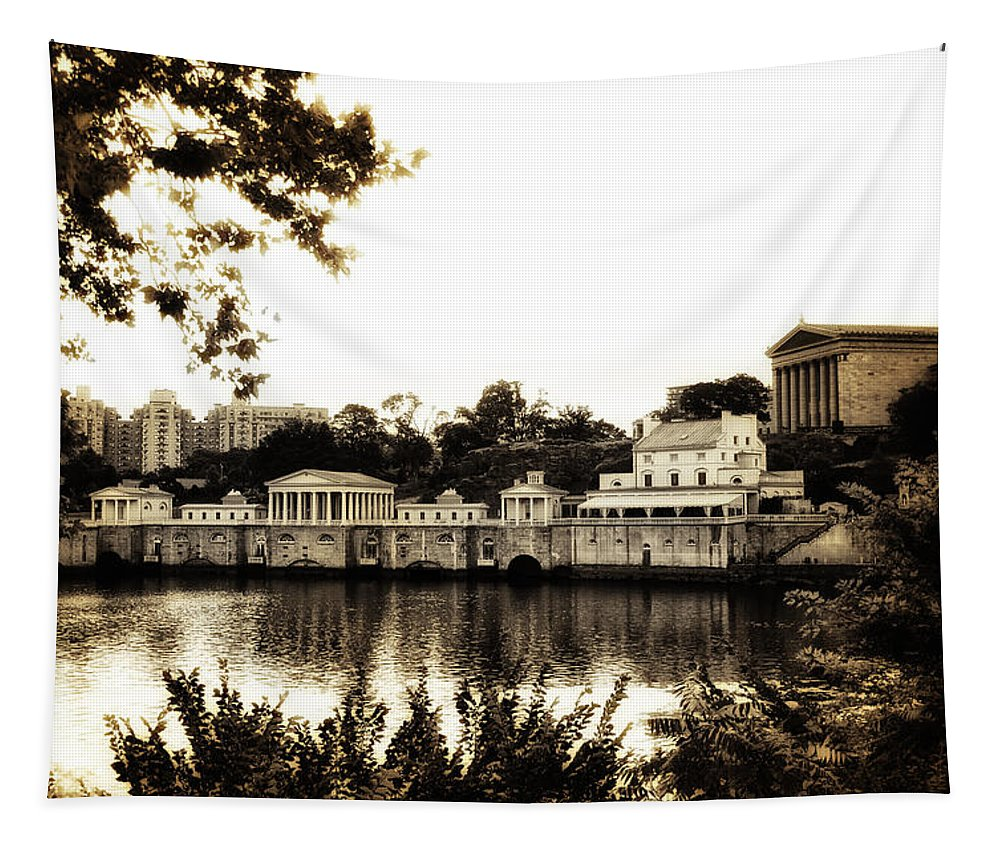 The Waterworks In Sepia Tapestry featuring the photograph The Waterworks In Sepia by Bill Cannon