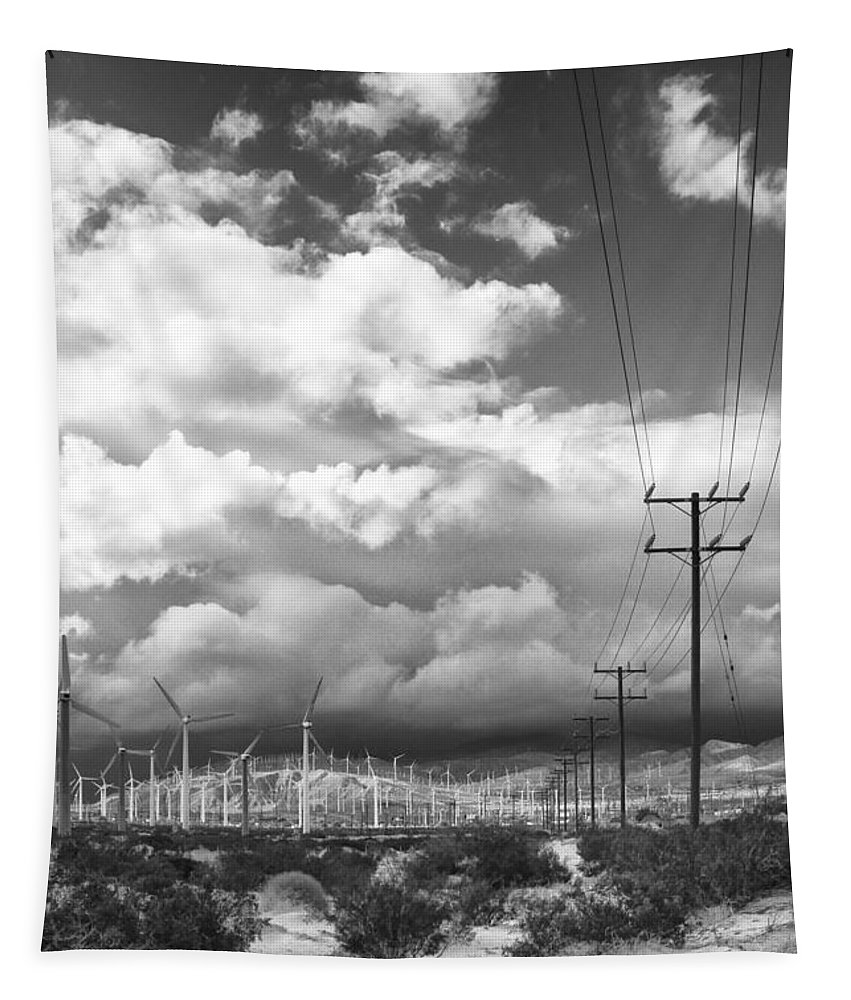 Windmills Tapestry featuring the photograph The Way Of The Wind Palm Springs by William Dey