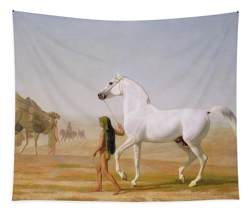The Tapestry featuring the painting The Wellesley Grey Arabian Led Through The Desert by Jacques-Laurent Agasse