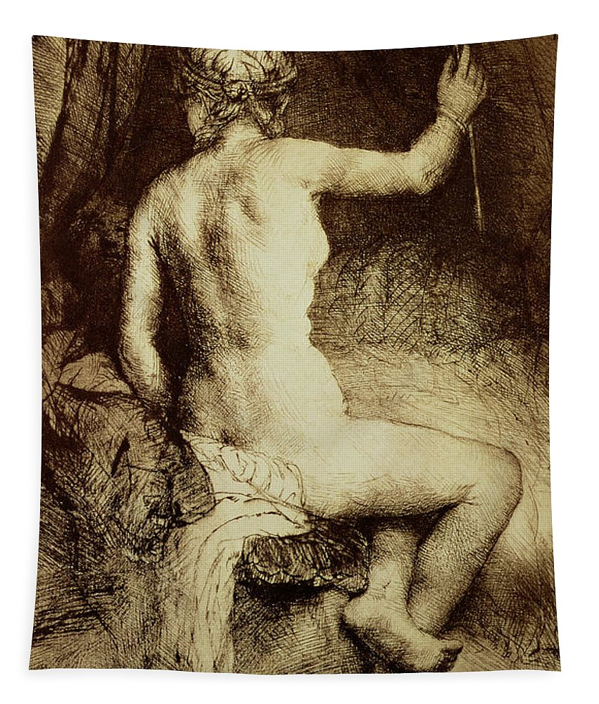 Female; Nude; Bed; Seated; Diana; Huntress; Print Tapestry featuring the drawing The Woman With The Arrow by Rembrandt Harmensz van Rijn