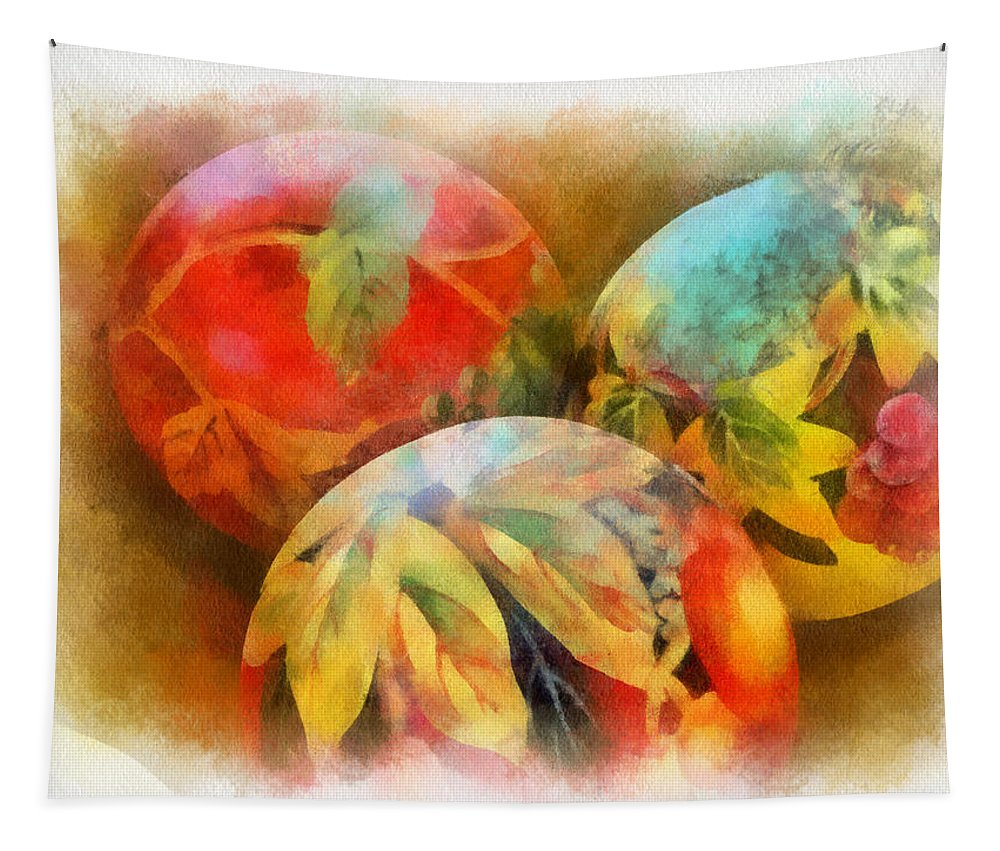 Santa Tapestry featuring the digital art Three Balls - Watercolor by Charles Muhle