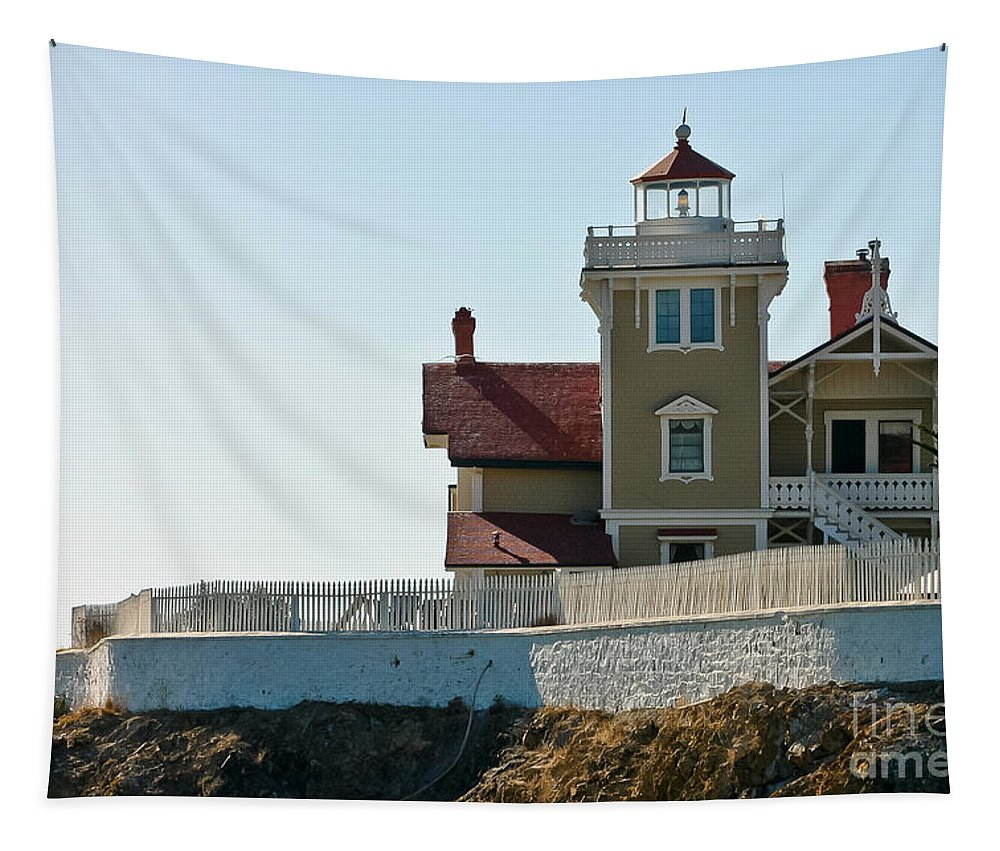 Light Station Tapestry featuring the photograph Three Brothers Island Light Station by Mitch Shindelbower
