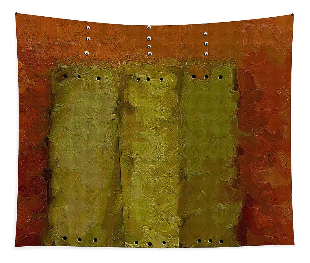 Abstract Art Tapestry featuring the painting Three by Ely Arsha