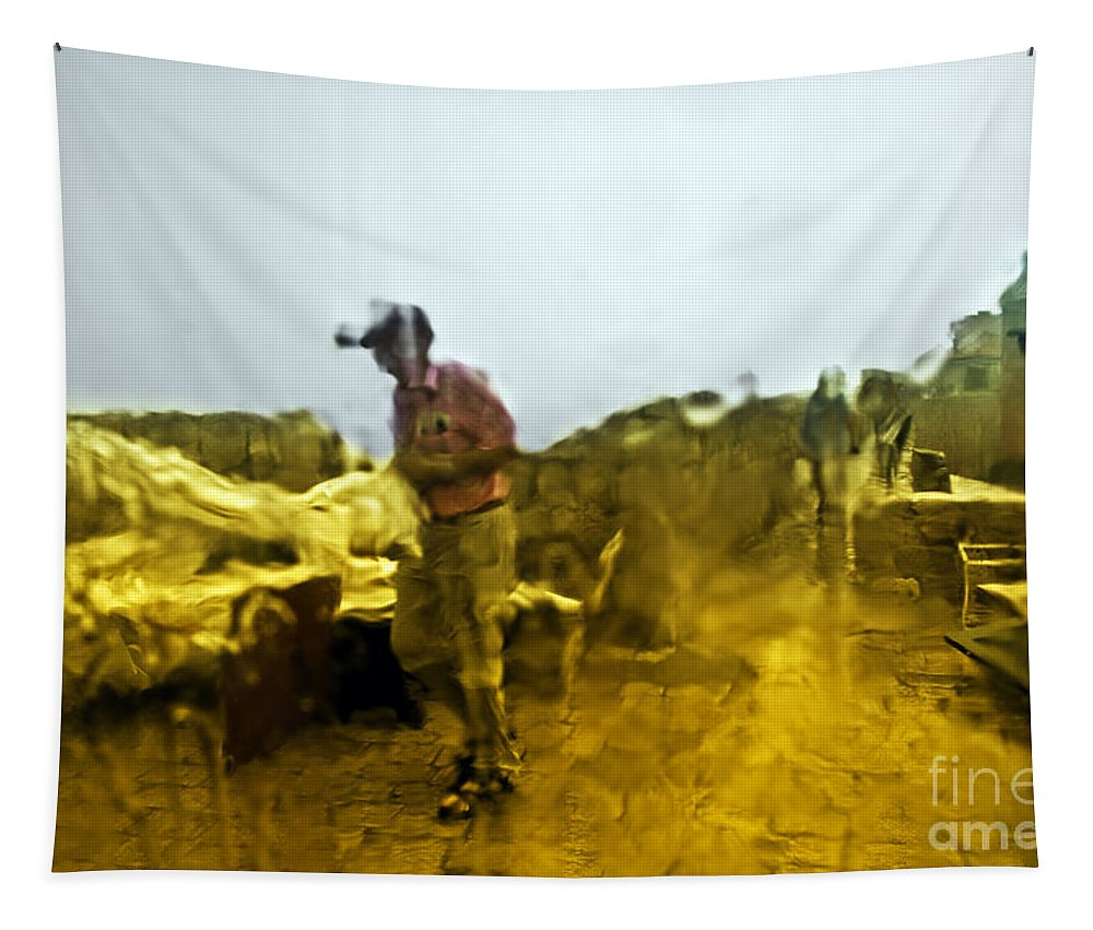 Rain Tapestry featuring the photograph Through A Window On A Rainy Day by Madeline Ellis
