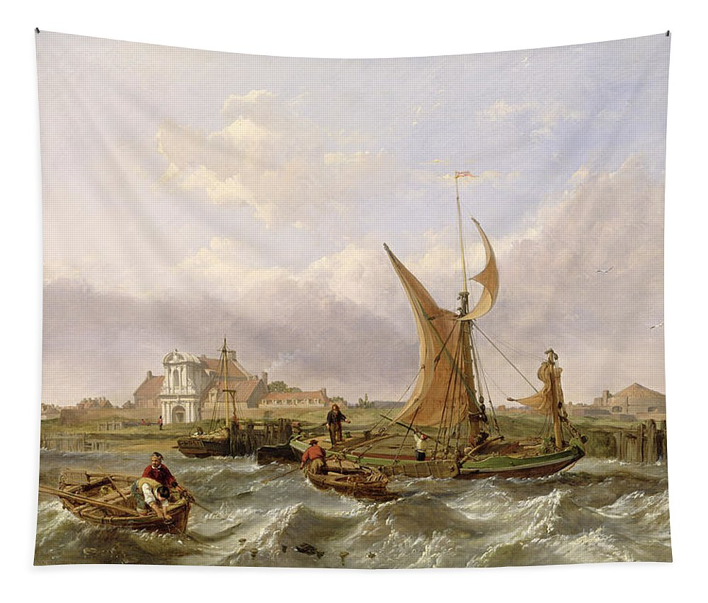 Tilbury Tapestry featuring the painting Tilbury Fort - Wind Against The Tide by William Clarkson Stanfield