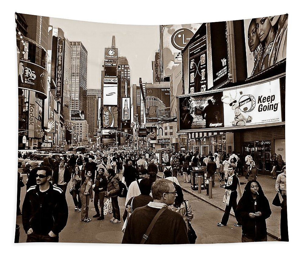 New York Tapestry featuring the photograph Times Square New York S by David Dehner